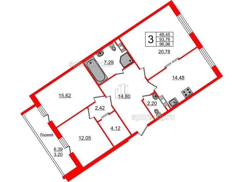 Планировка Трёхкомнатная квартира площадью 96.96 кв.м в ЖК «Ариосто»