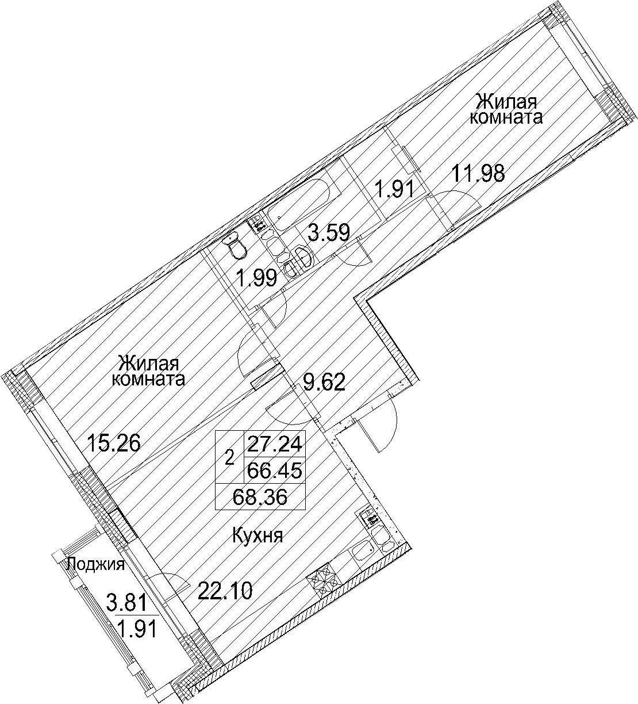 Планировка Двухкомнатная квартира площадью 70.27 кв.м в ЖК «Ариосто»