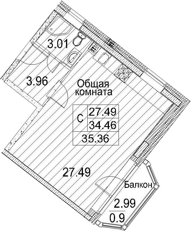 Планировка Студия площадью 37.45 кв.м в ЖК «Ариосто»
