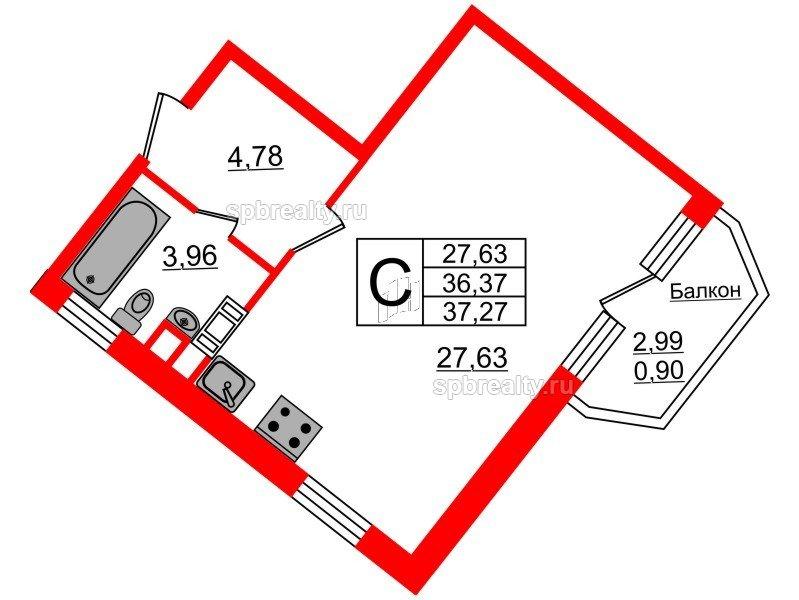 Планировка Студия площадью 37.27 кв.м в ЖК «Ариосто»
