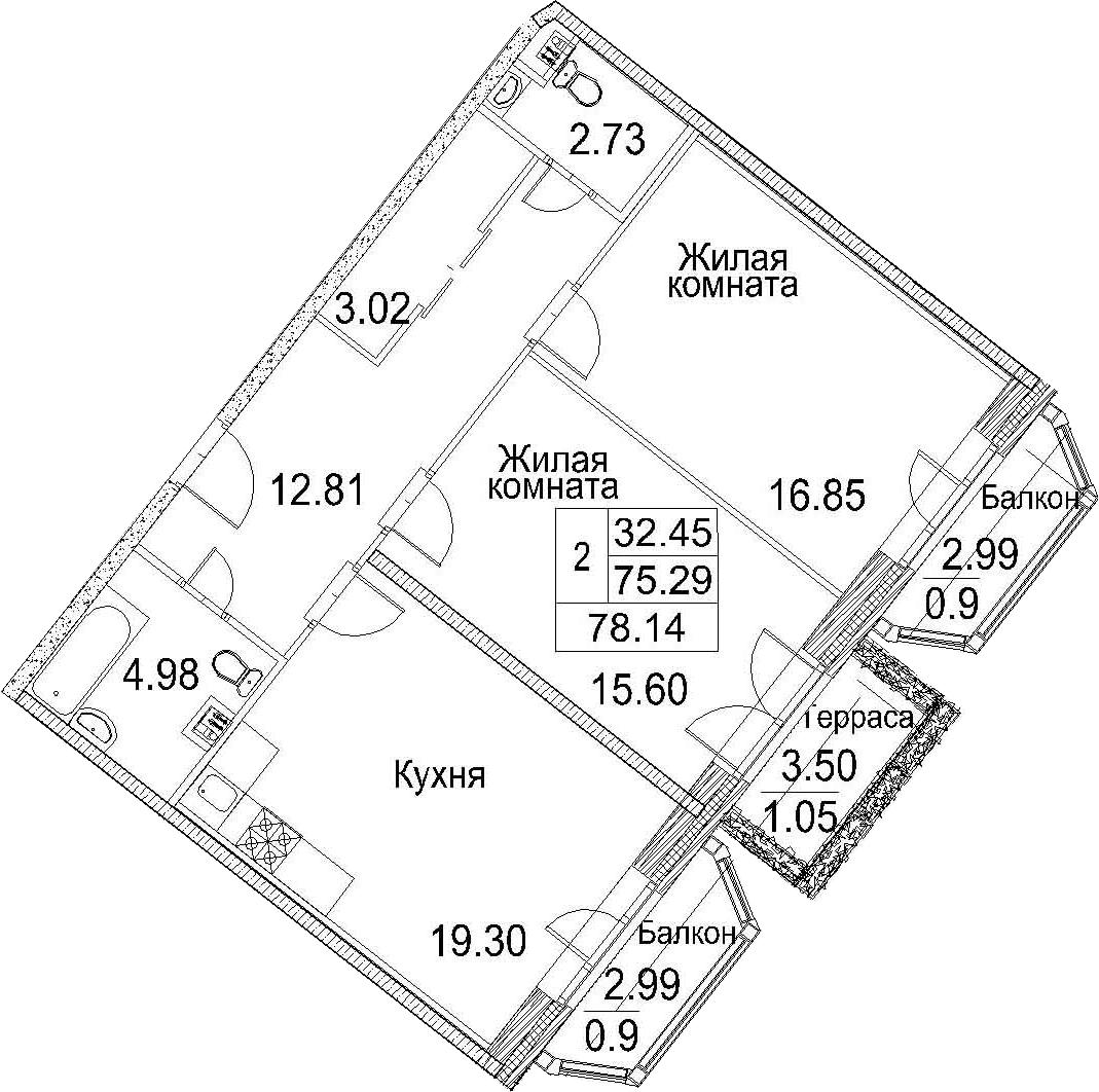 Планировка Двухкомнатная квартира площадью 84.77 кв.м в ЖК «Ариосто»
