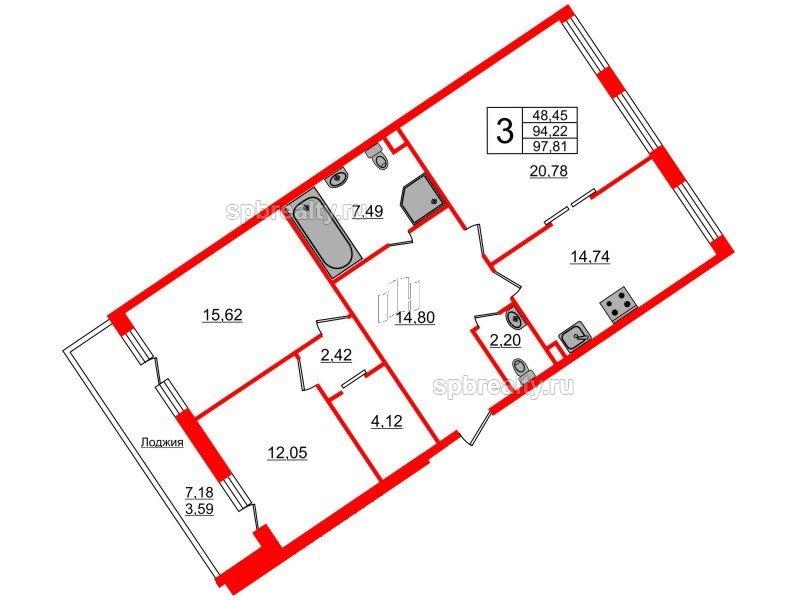 Планировка Трёхкомнатная квартира площадью 97.81 кв.м в ЖК «Ариосто»
