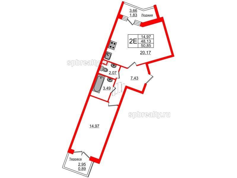 Планировка Однокомнатная квартира площадью 50.85 кв.м в ЖК «Ариосто»