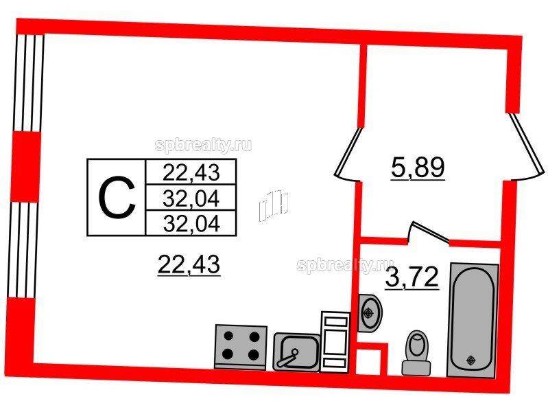 Планировка Студия площадью 32.04 кв.м в ЖК «Ариосто»