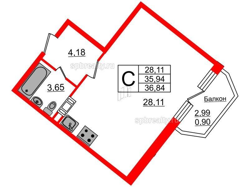 Планировка Студия площадью 36.84 кв.м в ЖК «Ариосто»