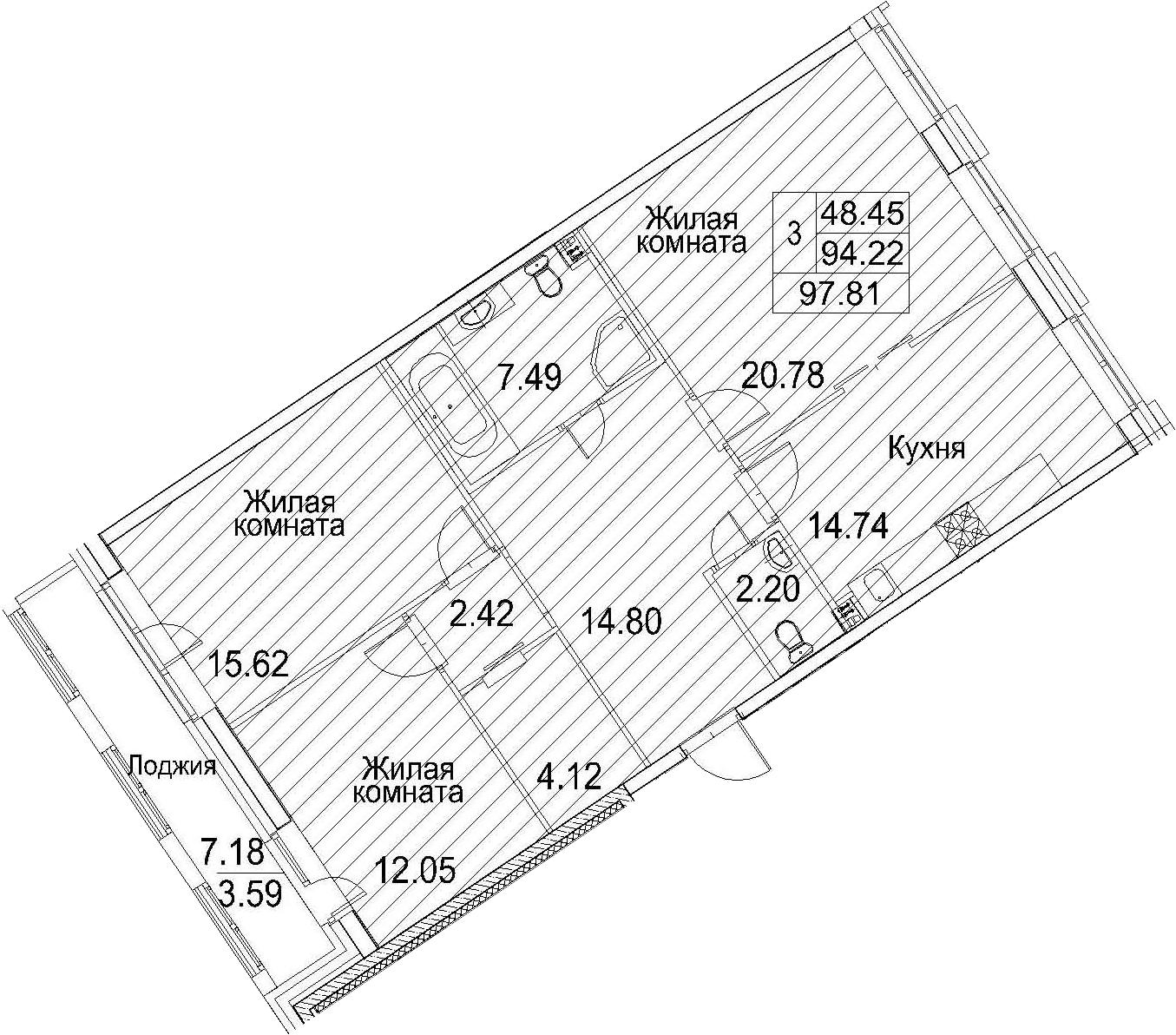 Планировка Трёхкомнатная квартира площадью 101.4 кв.м в ЖК «Ариосто»