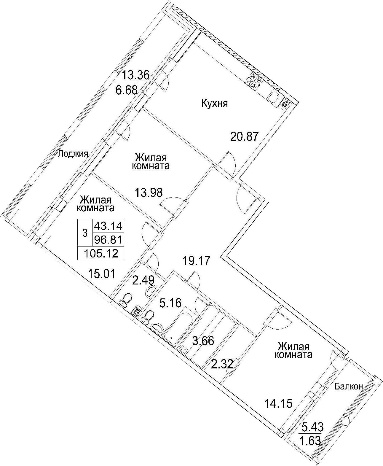 Планировка Трёхкомнатная квартира площадью 115.6 кв.м в ЖК «Ариосто»