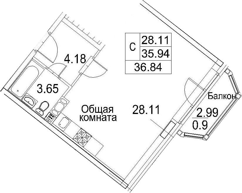 Планировка Студия площадью 38.94 кв.м в ЖК «Ариосто»