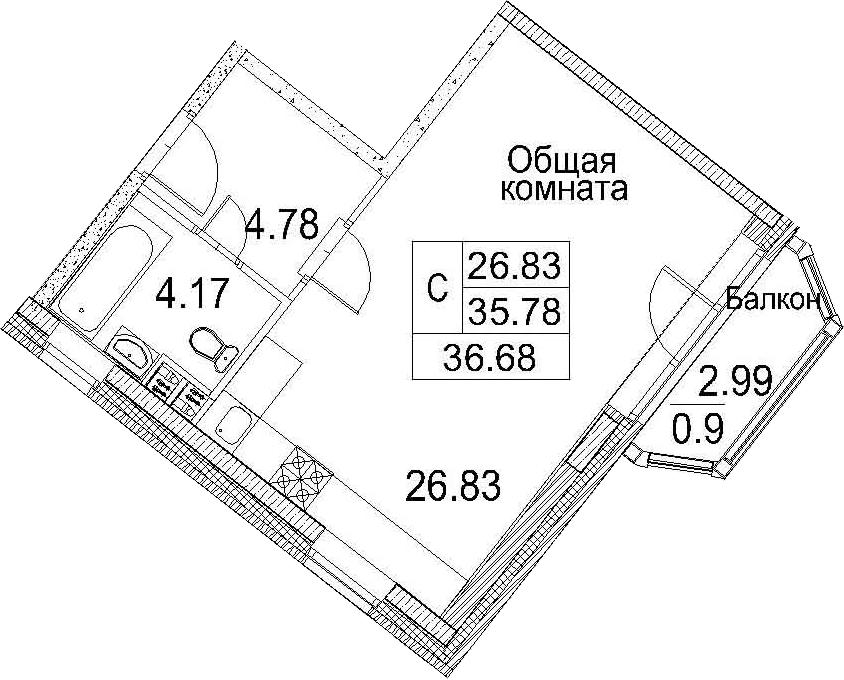 Планировка Студия площадью 38.78 кв.м в ЖК «Ариосто»