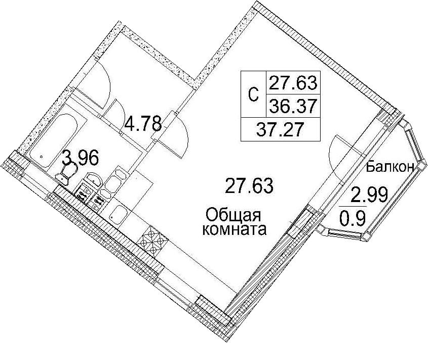 Планировка Студия площадью 39.37 кв.м в ЖК «Ариосто»