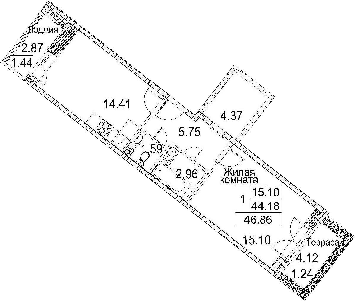 Планировка Однокомнатная квартира площадью 51.17 кв.м в ЖК «Ариосто»