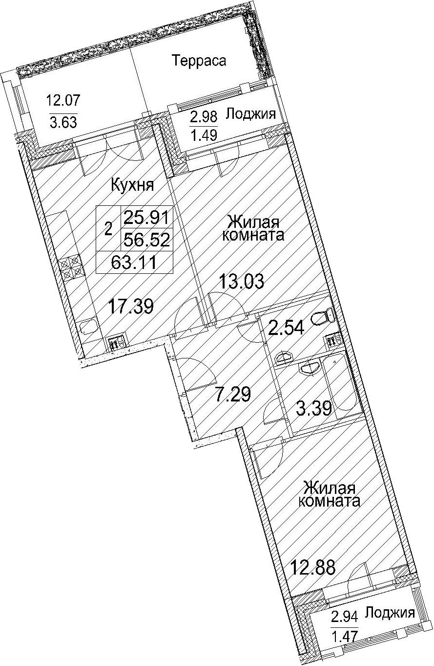 Планировка Двухкомнатная квартира площадью 74.54 кв.м в ЖК «Ариосто»