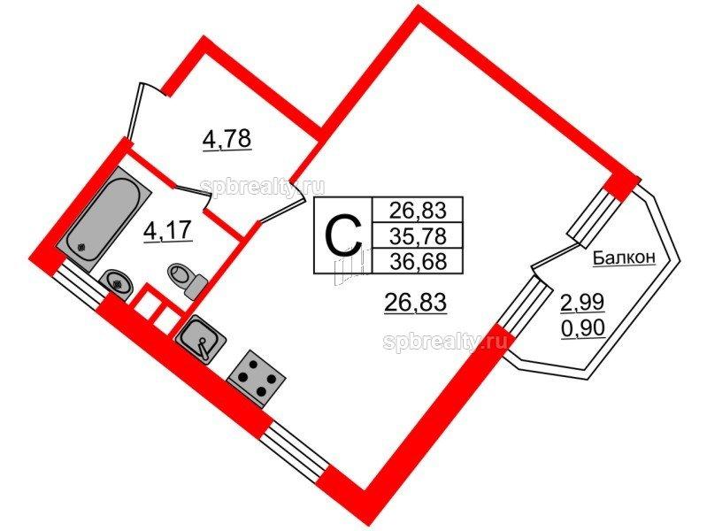 Планировка Студия площадью 36.68 кв.м в ЖК «Ариосто»