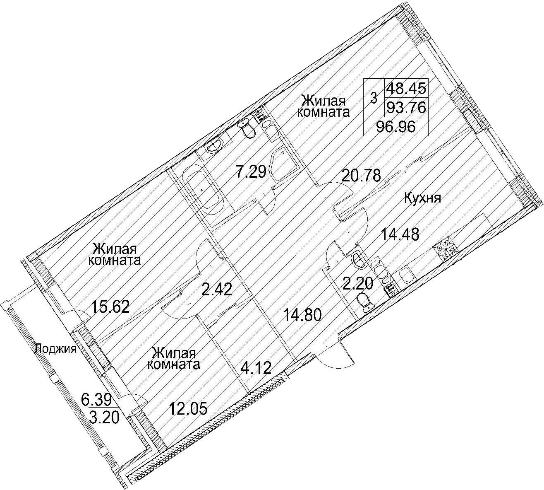 Планировка Трёхкомнатная квартира площадью 100.15 кв.м в ЖК «Ариосто»