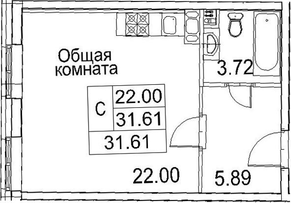 Планировка Студия площадью 31.61 кв.м в ЖК «Ариосто»