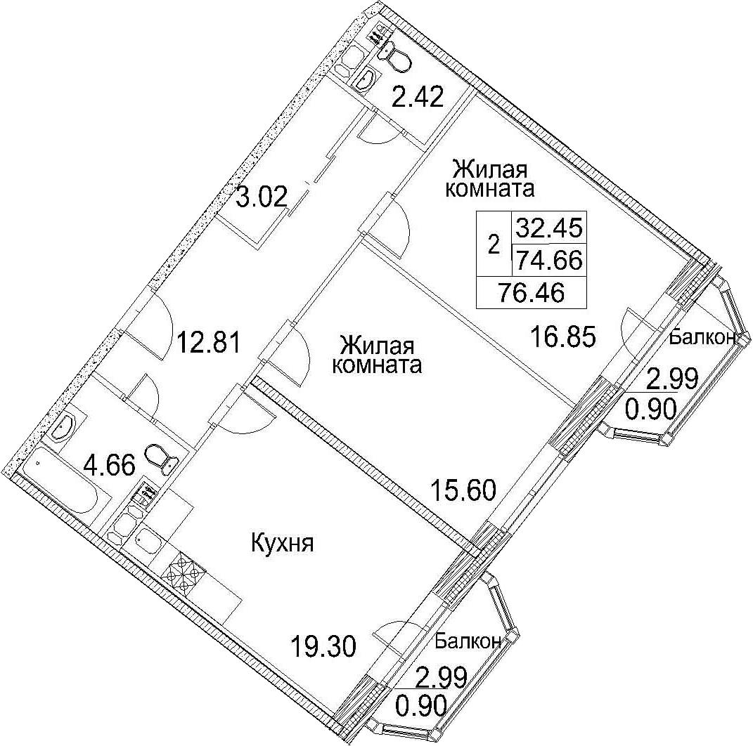 Планировка Двухкомнатная квартира площадью 80.64 кв.м в ЖК «Ариосто»