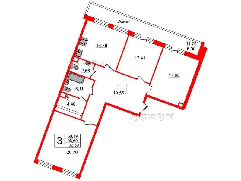 Планировка Трёхкомнатная квартира площадью 102.59 кв.м в ЖК «Ариосто»