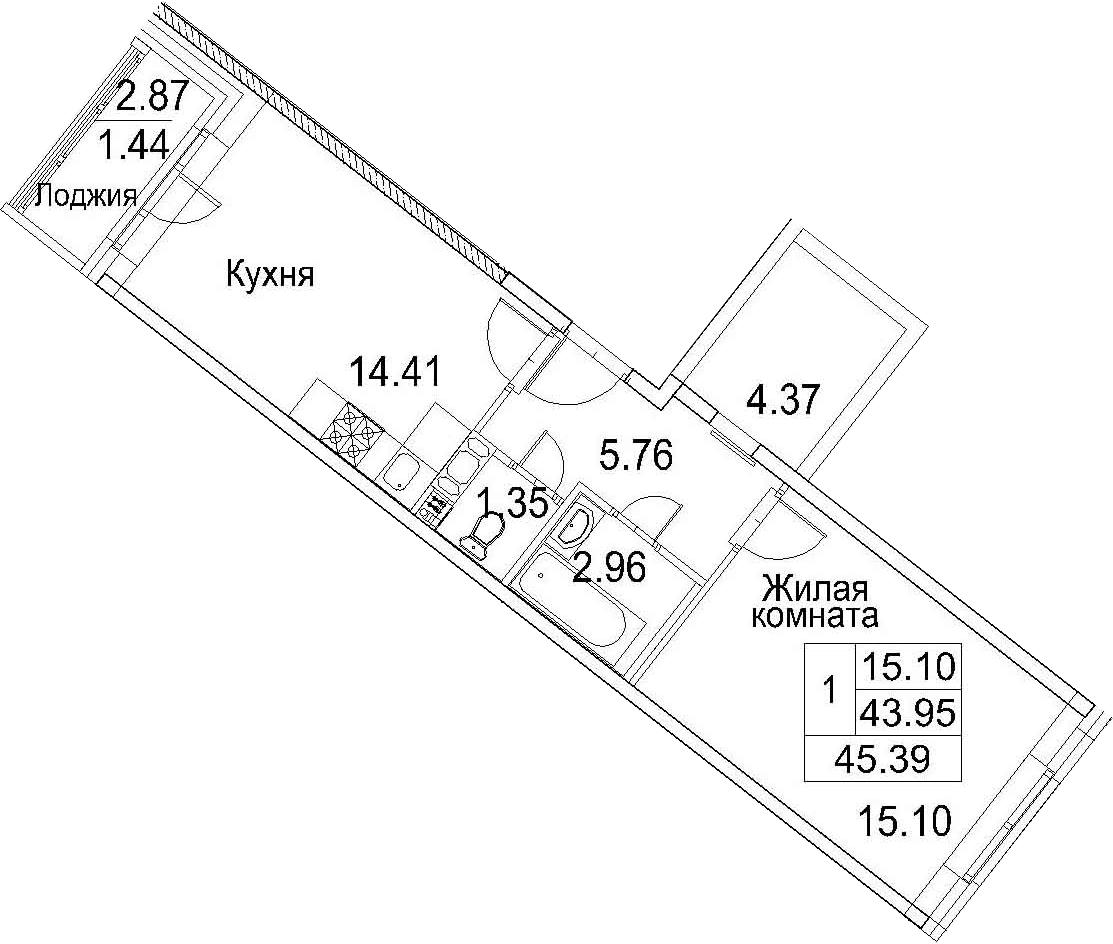 Планировка Однокомнатная квартира площадью 46.82 кв.м в ЖК «Ариосто»