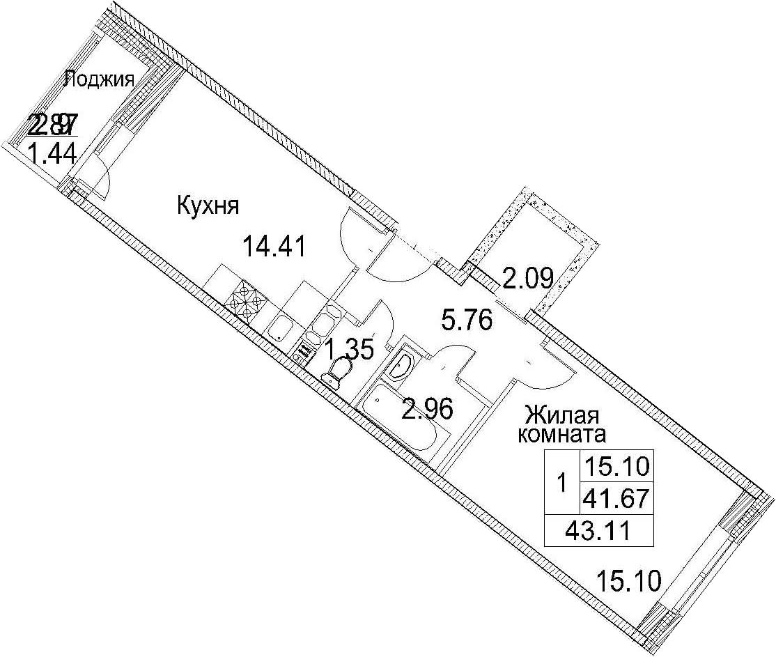 Планировка Однокомнатная квартира площадью 44.54 кв.м в ЖК «Ариосто»