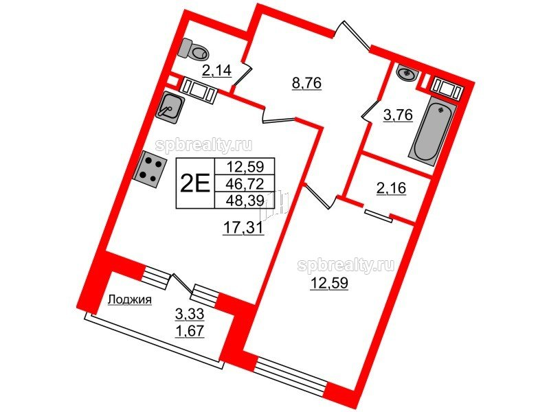 Планировка Однокомнатная квартира площадью 48.39 кв.м в ЖК «Ариосто»