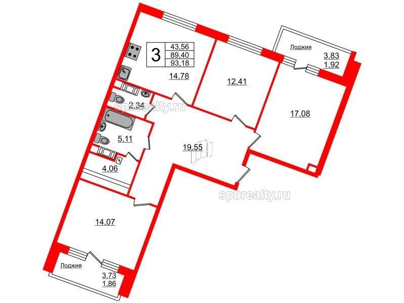 Планировка Трёхкомнатная квартира площадью 93.18 кв.м в ЖК «Ариосто»