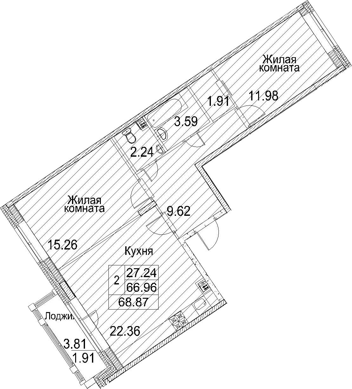 Планировка Двухкомнатная квартира площадью 70.78 кв.м в ЖК «Ариосто»