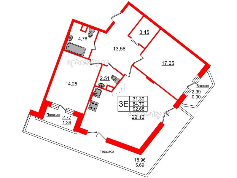 Планировка Двухкомнатная квартира площадью 92.68 кв.м в ЖК «Ариосто»